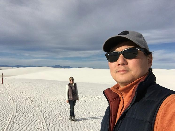 The artist in White Sands, New Mexico, with his wife Samantha Fields